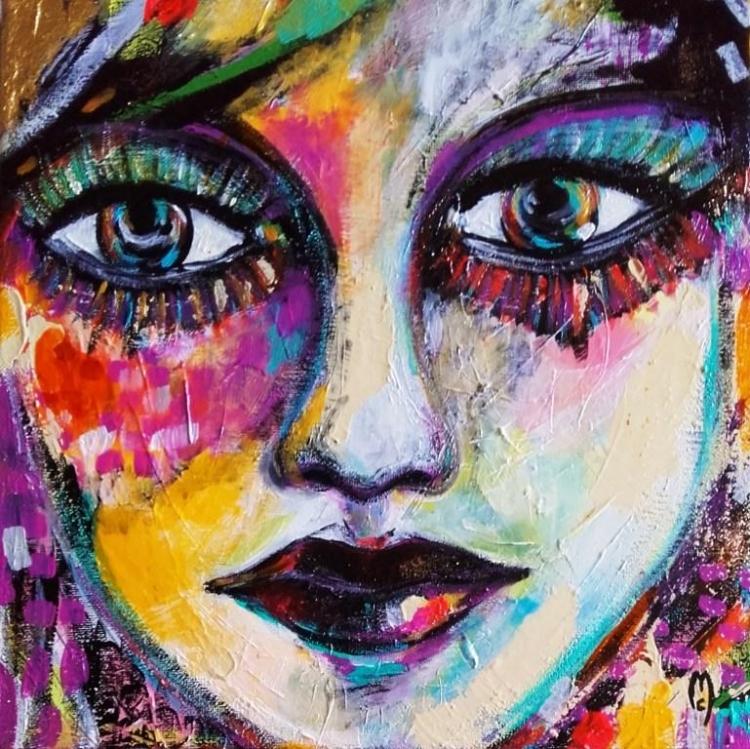 Tableau Peinture Art femme portrait yeux