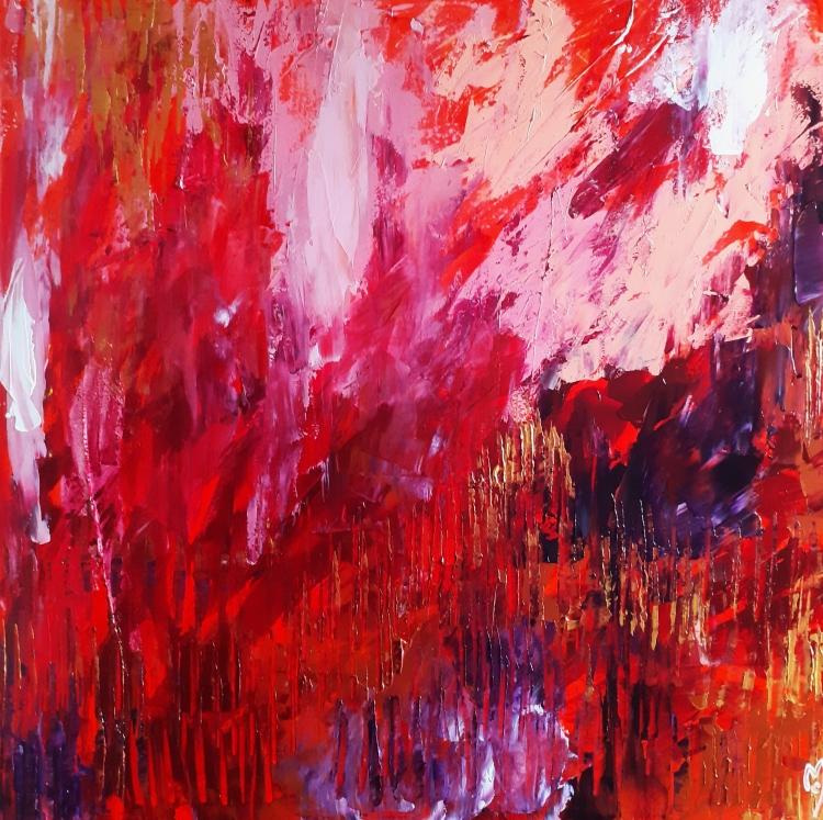 TABLEAU PEINTURE abstrait céline marcoz rouge paysage - Emotions