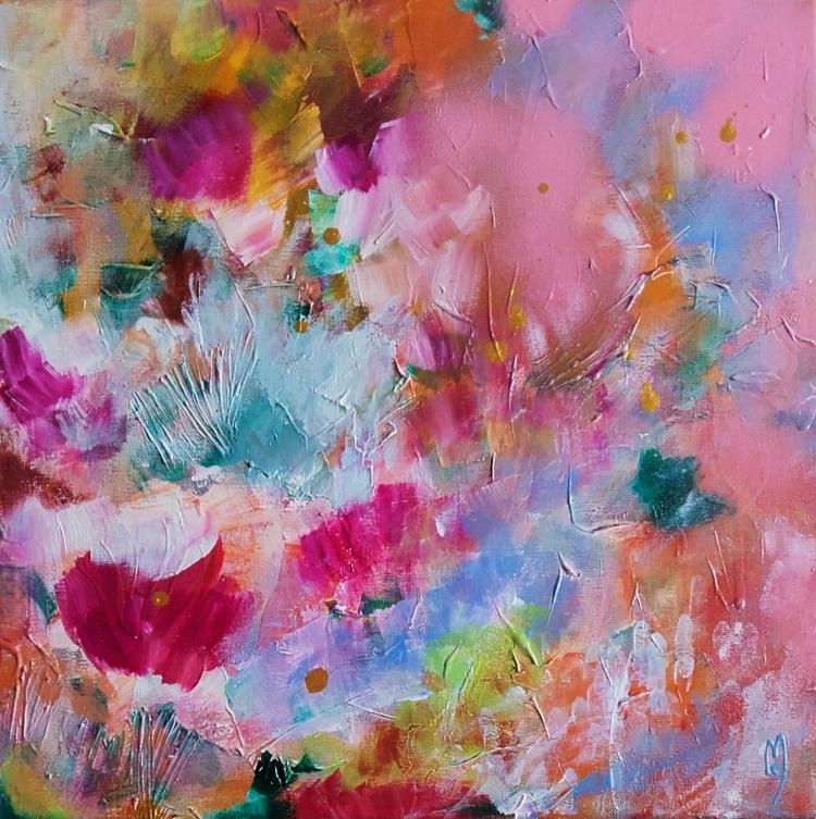 TABLEAU PEINTURE art abstrait - fleurs