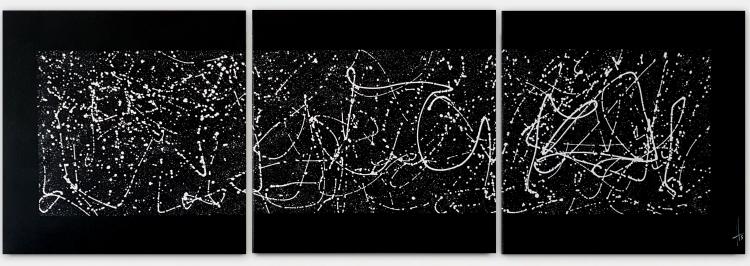TABLEAU PEINTURE triptyque noir blanc tableau - triptyque noir et blanc