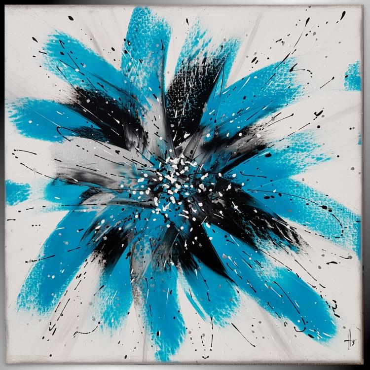TABLEAU PEINTURE turquoise bleu carré argent - SENTIMENTAL