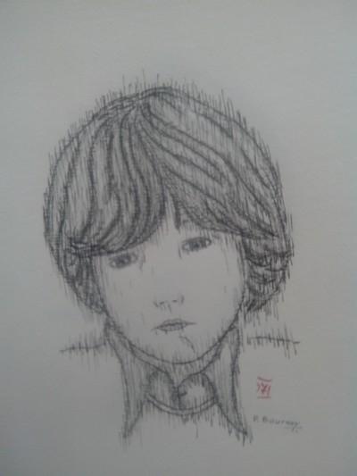 Dessin Enfant Triste Mémoire Personnages Encre De Chine