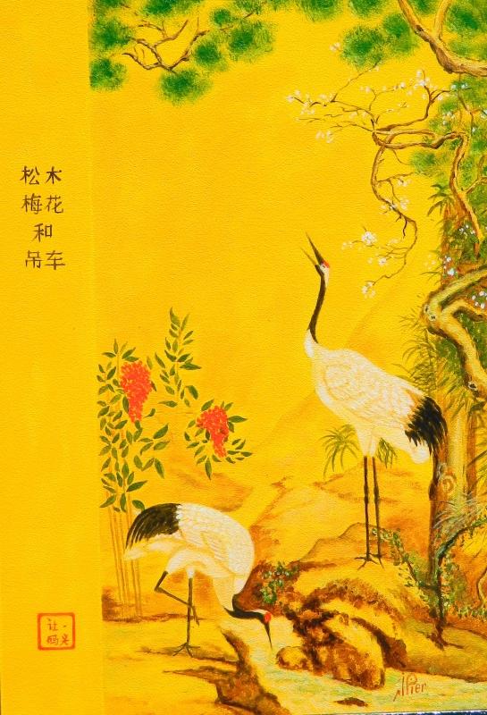 TABLEAU PEINTURE grues oiseaux estampe japonaise - GRUES