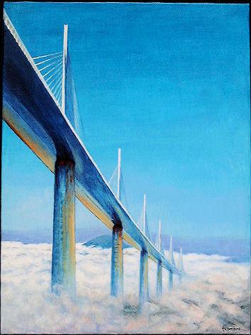 TABLEAU PEINTURE Terre ciel nuages - Entre terre et ciel: viaduc de Millau