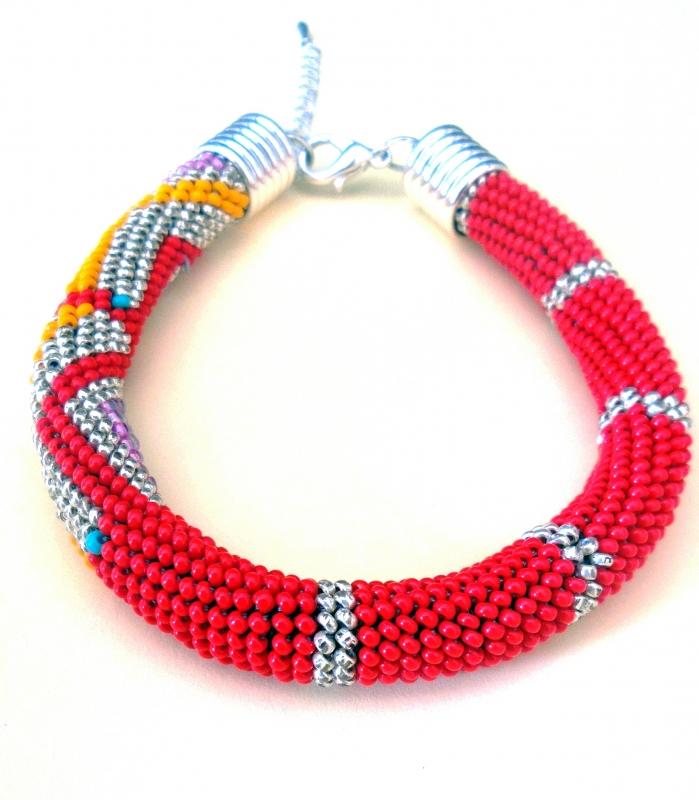 """BIJOUX Perles Rouge corail Argent Safran - Bracelet """"Corail"""""""