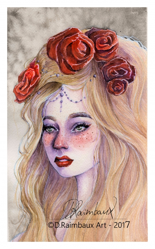 DESSIN arches aquarelle portrait roses - Eileen