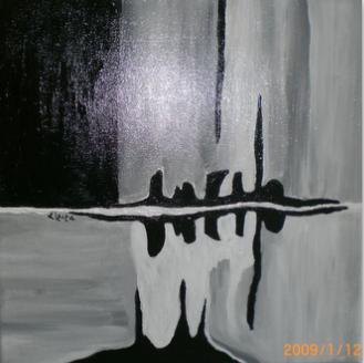 Tableau Peinture Art Abstrait Acrylique Abstraction Noir Et Blanc