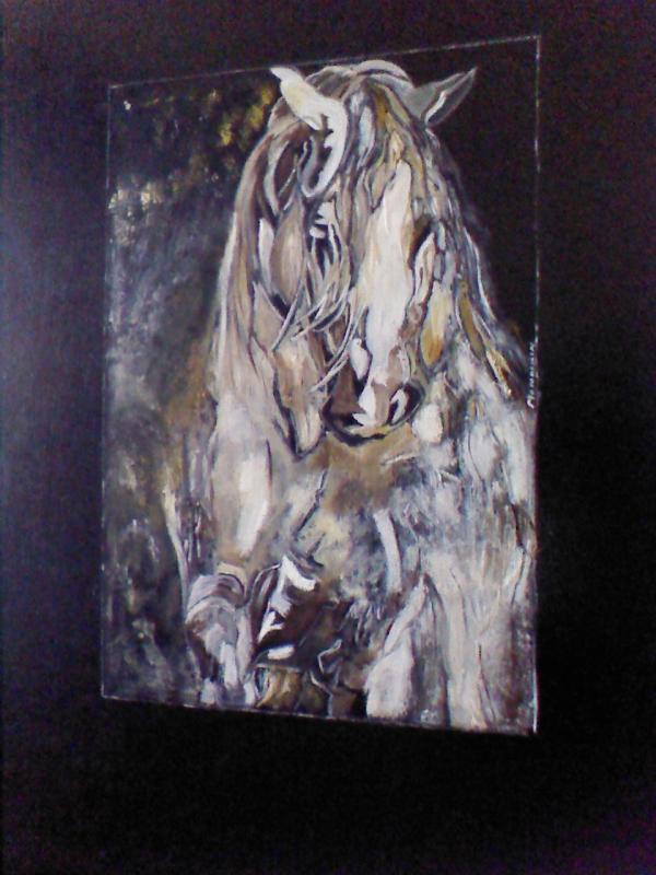 TABLEAU PEINTURE - Cheval blanc