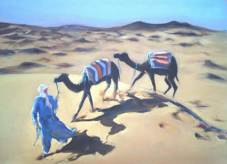 TABLEAU PEINTURE caravane dune désert maroc - Caravane