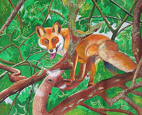 TABLEAU PEINTURE renard fable de la fontaine nature animaux - Maître Renard sur un arbre perché ...