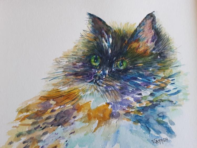 TABLEAU PEINTURE aquarelle original animal chat - Le beau chat