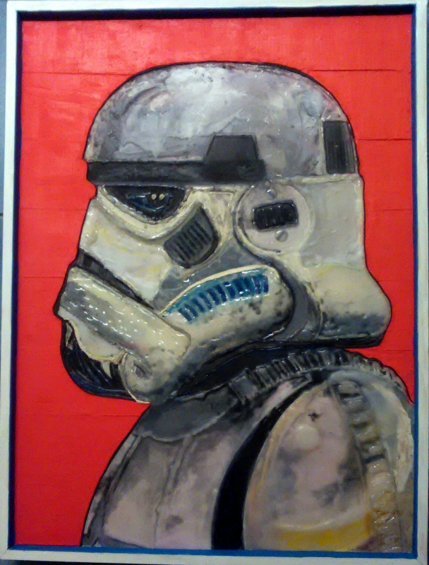 TABLEAU PEINTURE sandtrooper fondre plasticine création - sandtrooper