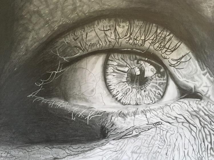 Dessin Oeil Noir Et Blanc Réaliste Crayon Crayon Oeil