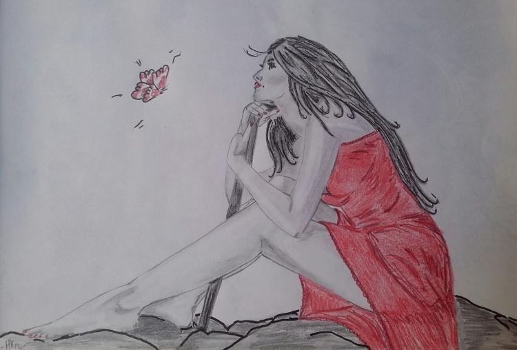 Dessin Fille Rouge Dessin Sexy Personnages Crayon La Fille