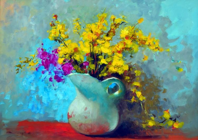 TABLEAU PEINTURE fleurs roses vases nature morte - les roses 517