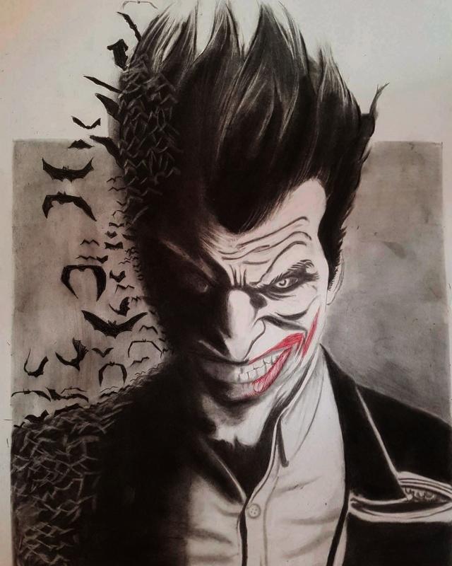 Dessin Joker Darknight Batmane Personnages Crayon Joker