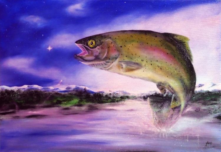 TABLEAU PEINTURE truite nocturne animaux chamanisme - Truite nocturne