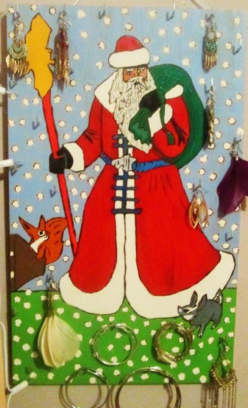 TABLEAU PEINTURE Père noël boucles oreilles Noël - Père Noël (portes boucles oreilles)