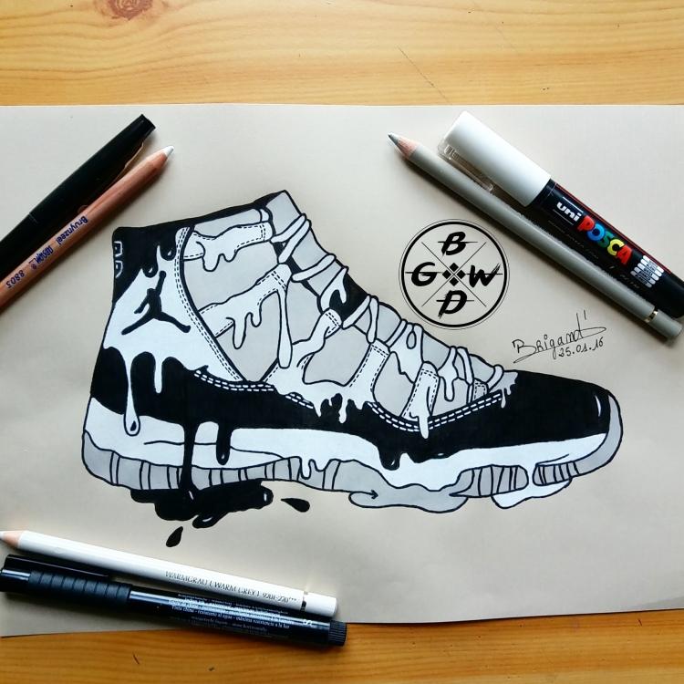 Sneaker Mode 11 Aquarelle Air Chaussure Dessin Concord Jordan x4Bgcv