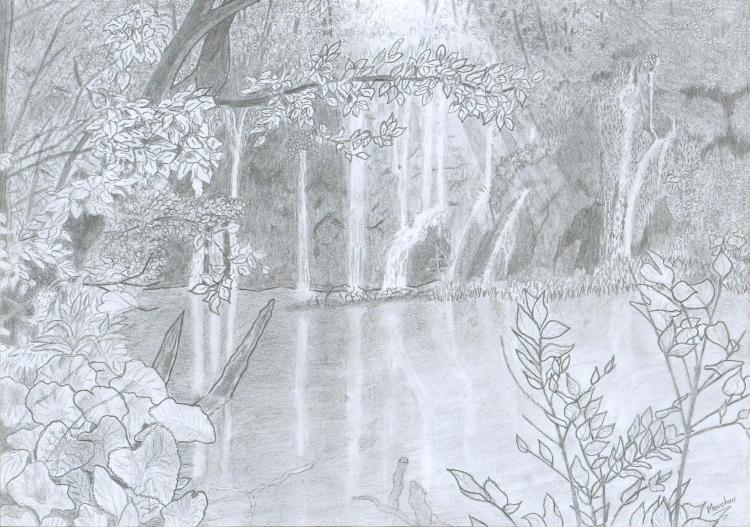 Dessin Lac Croatie Crayon Noir Et Blanc Paysages Crayon