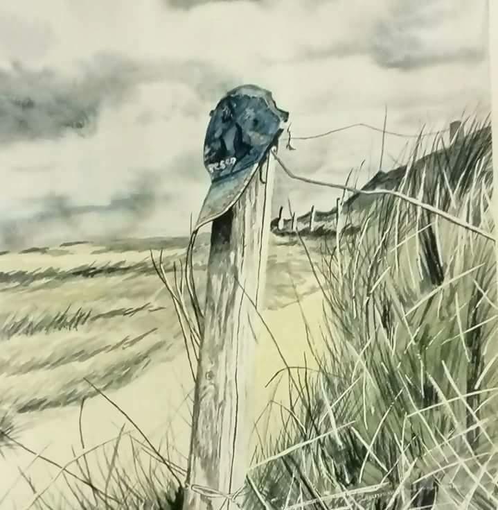 Tableau Peinture Art Casquette Piquet Dunes De Sable Herbes Hautes