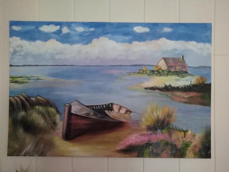 Audacieux Tableau Peinture Art Bretagne Paysage Bord de mer Épave Paysages IJ-79