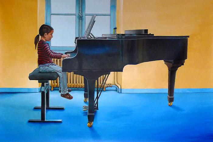 TABLEAU PEINTURE pianiste piano entraînement fenêtre - La jeune pianiste