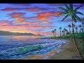Peindre La Plage Tropicale (Video Courte) Au Coucher Du Soleil A L'Acrylique