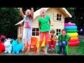 DIY 2 Etages 3 Pièces Maison Enfant & Room Tour / Chiki-Piki Kids Pretend Play In Playhouse For Kids