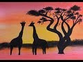 dessiner un paysage de savane fond aquarelle