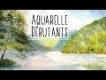 Aquarelle : Lac de montagnes dans l'humide