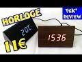 HORLOGE THERMOMETRE BOIS LED BANGGOOD - IDEE CADEAU - REVEIL