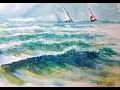 Vidéo 61: Peindre à l'aquarelle sans dessiner la mer et les vagues