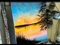 PEINTURE AU COUTEAU FACILE : COUCHER DE SOLEIL SUR LE LAC  par Nelly LESTRADE