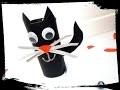 halloween - fabriquer un chat noir avec un rouleau de papier toilette