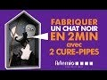 Bricolage Halloween - Fabriquer un chat noir en 2min avec 2 chenilles cure-pipes