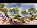Paysage à l'aquarelle / watercolor demo / La Garrigue