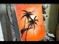 COURS DE PEINTURE AU COUTEAU : COUCHER DE SOLEIL SUR L'OCEAN (knife painting)