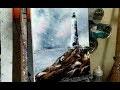PEINTURE AU COUTEAU : LE PHARE & LES MOUETTES par Nelly LESTRADE (knife painting)