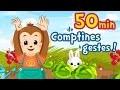 50min de Comptines avec gestes et Chansons pour bébé (Petit escargot, Alouette, Pirouette ...)