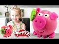 Confection d'un petit cochon Kawaii en pate à modeler Play Doh  Clay Little Pig !