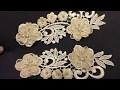 Guipure Patch Motif A coudre orné de fleurs et de perles, pour robes de mariage et cérémonies