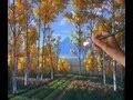 Peindre Forêt Peupliers Leçon Complete Acrylique Toile Automne Arbres Buisson Chemin Comment