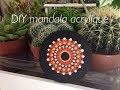 MANDALA ACRYLIQUE SUR BAMBOU   Dot painting