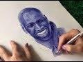 Dessin au stylo bille bleu Time Lapse - Portrait d'Omar Sy - [ Intouchables ]