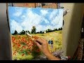 TUTO  LES COQUELICOTS DE MONET AU COUTEAU PAR NELLY LESTRADE (poppies, knife painting)