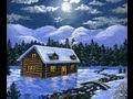 Peindre un paysage de neige 3/3 cabane chalet de montagne carte Noël lecon acrylique sur toile