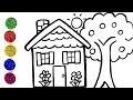 Comment dessiner une maison et un arbre pour les enfants - Apprendre la couleur pour bébé