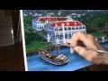 Comment Peindre Bâtiment Bateau Rapide Montagnes Village Port  Acrylique Toile Artiste Peintre