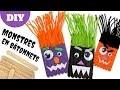 Fabriquer des monstres rigolos avec des bâtonnets en bois (TUTO / DIY Halloween)